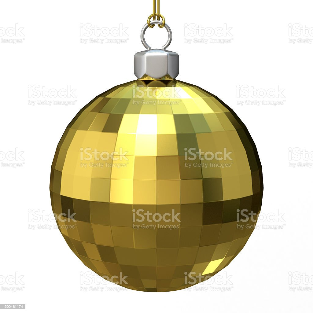 Gold Christmas ball. 3D render stock photo