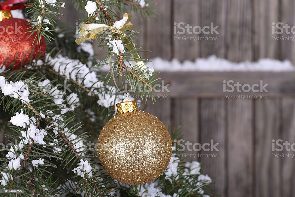 Gold Christmas Ball on Tree royalty-free stock photo