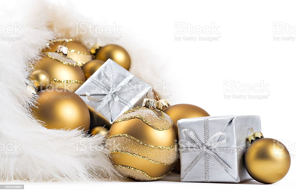 gold christmas balls royalty-free stock photo
