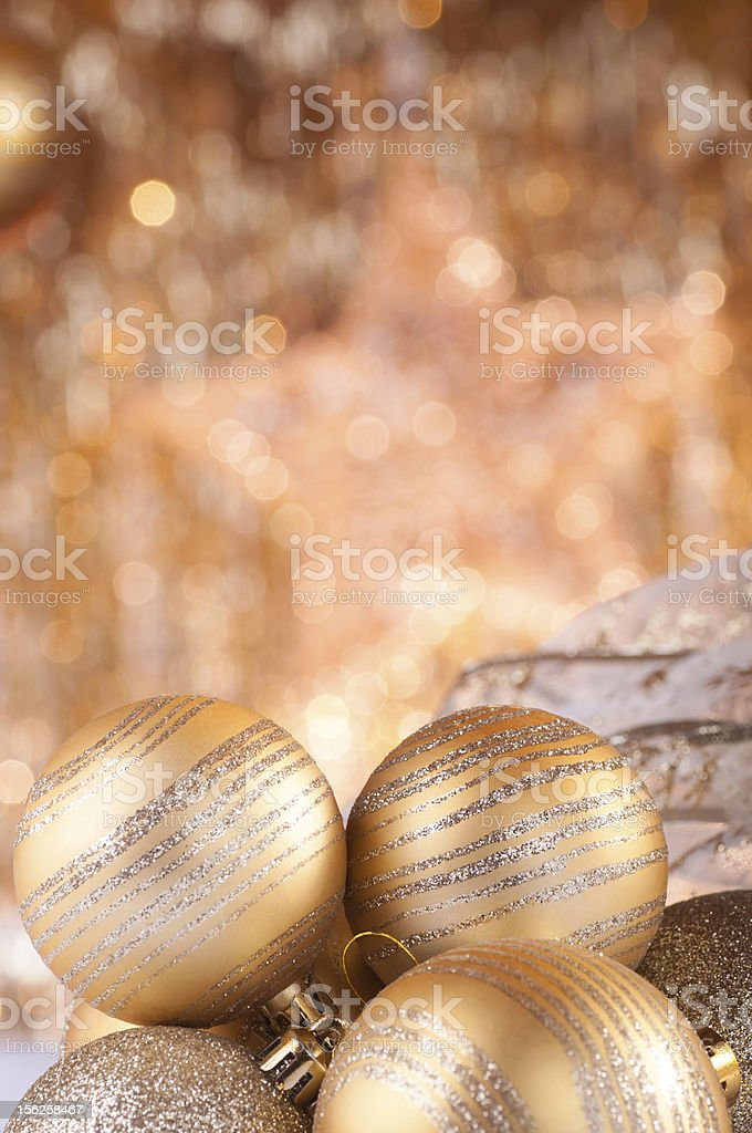 gold christmas baubles royalty-free stock photo