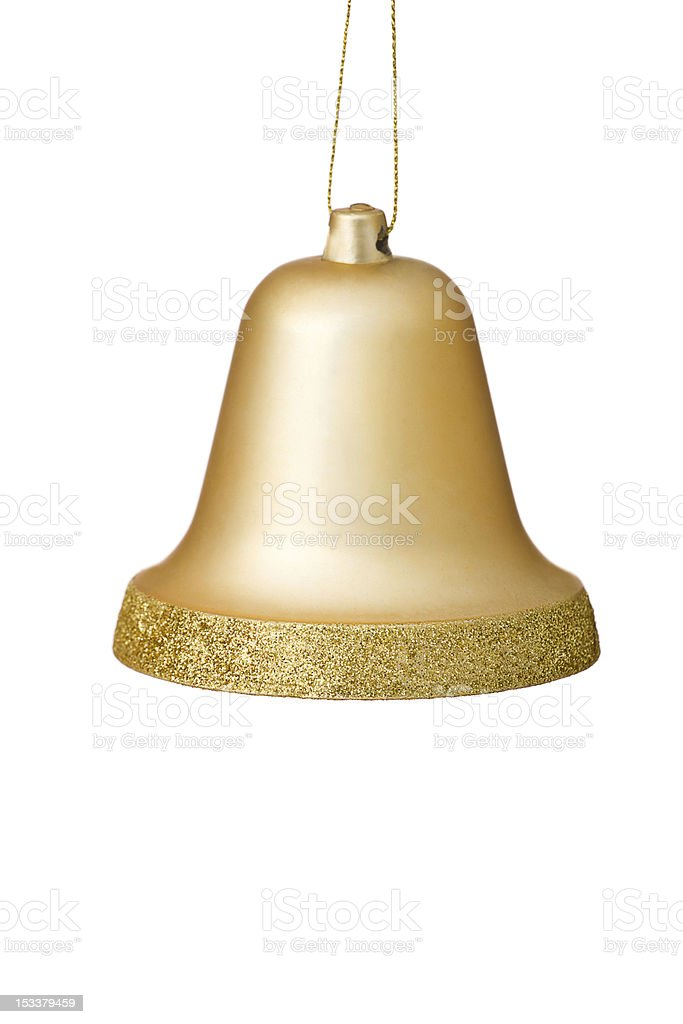 Gold Christmas Bell Ornament On White Background. stock photo