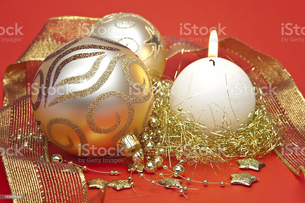 Gold Christmas Ornaments royalty-free stock photo