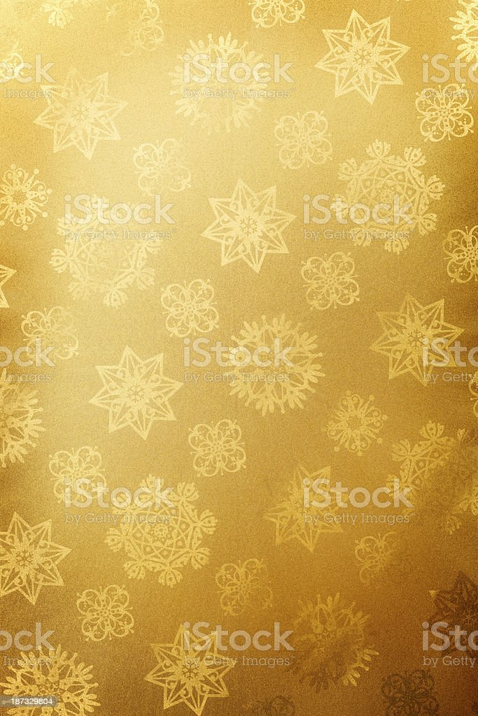 Gold Christmas Paper With Snowflakes stock photo