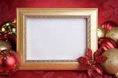 Gold Christmas Photo Frame with Red Ornaments