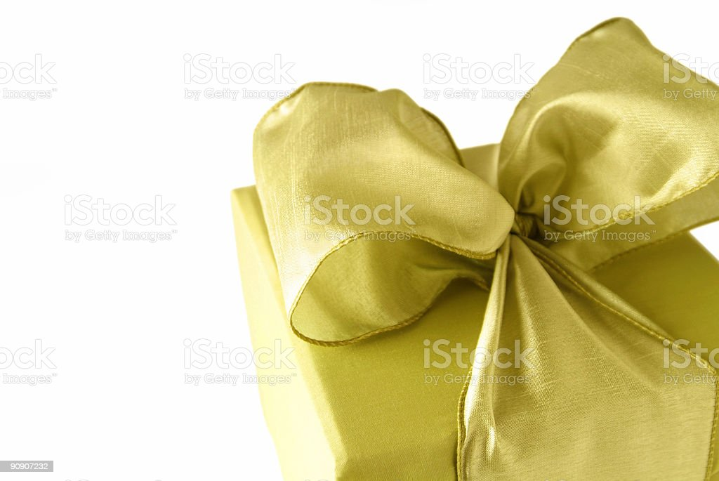 gold christmas present stock photo