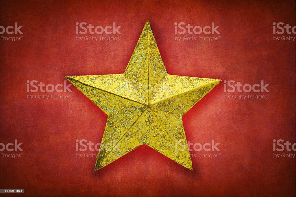 Gold christmas star stock photo