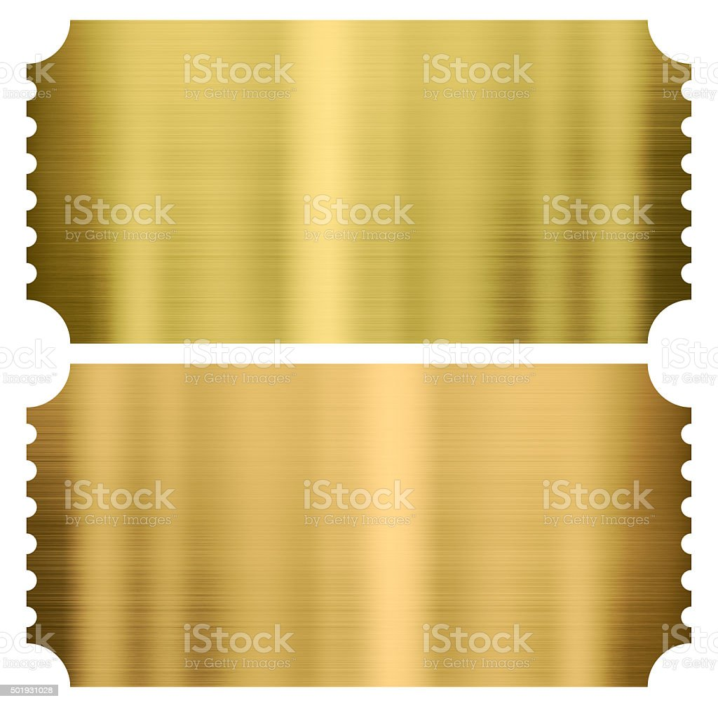 gold cinema or theather tickets set isolated stock photo