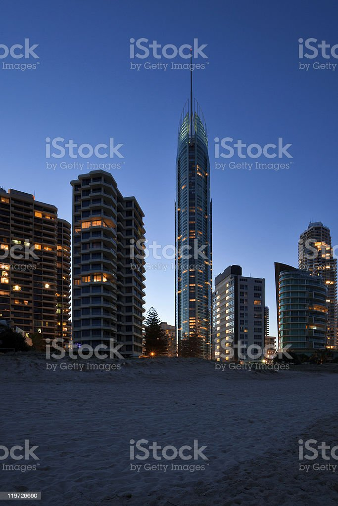 Gold Coast at dusk stock photo