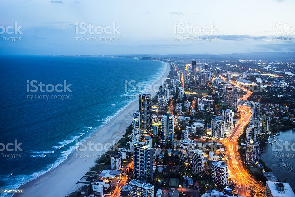 Gold Coast at night stock photo