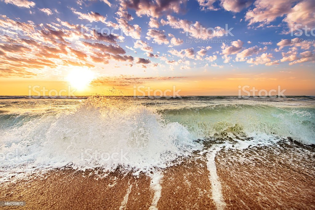 Gold Coast Australia beach sunrise over ocean stock photo