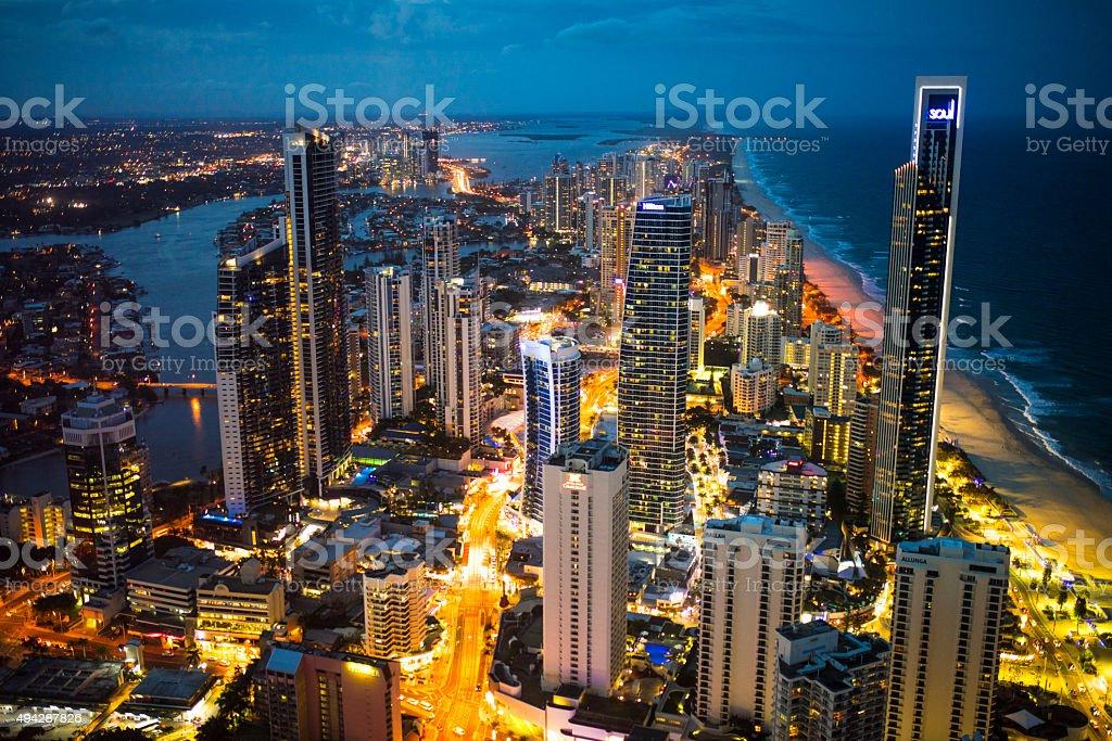 Gold Coast City at Night stock photo