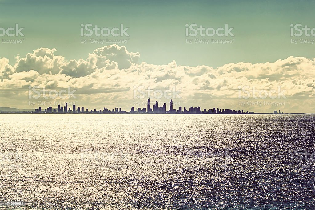 Gold Coast city skyline at sunset,Vintage effect royalty-free stock photo
