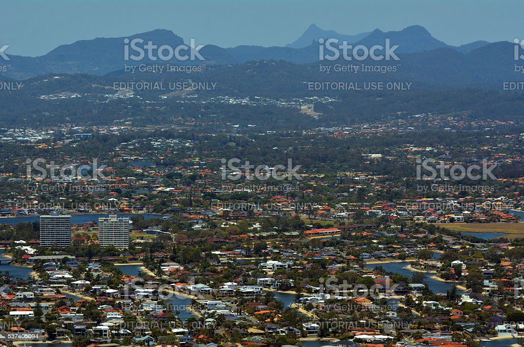 Gold Coast hinterland and Surfers Paradise in Queensland Australia stock photo
