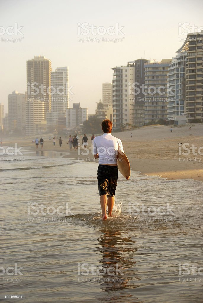 Gold Coast: Surfer at Surfers Paradise, Queensland, Australia stock photo