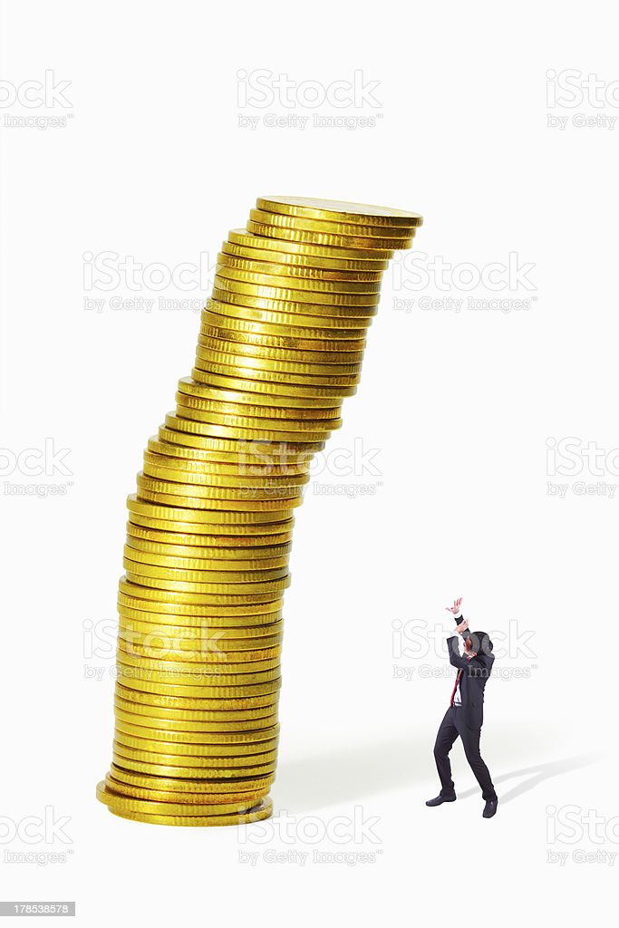 Gold coin heap collapse royalty-free stock photo