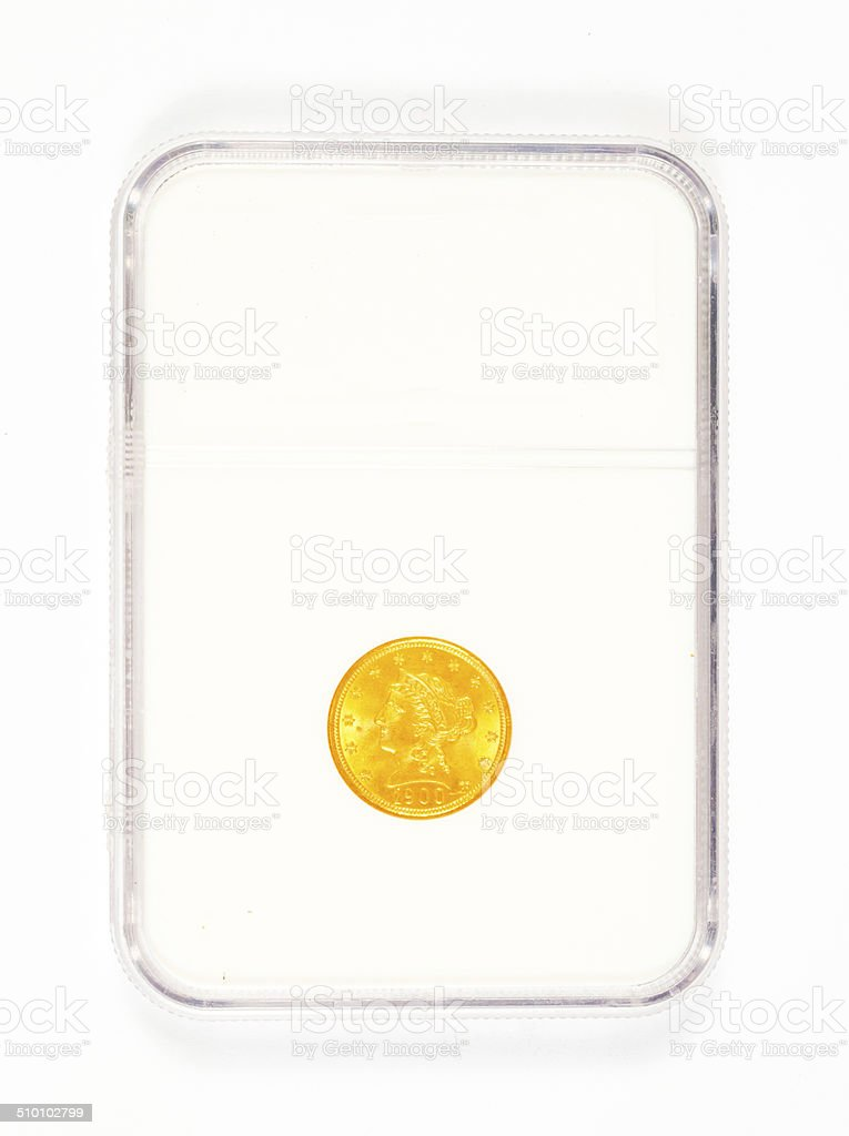 Gold Coin in Case stock photo