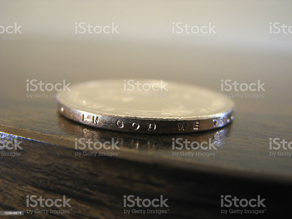 Gold Coin In God We Trust royalty-free stock photo