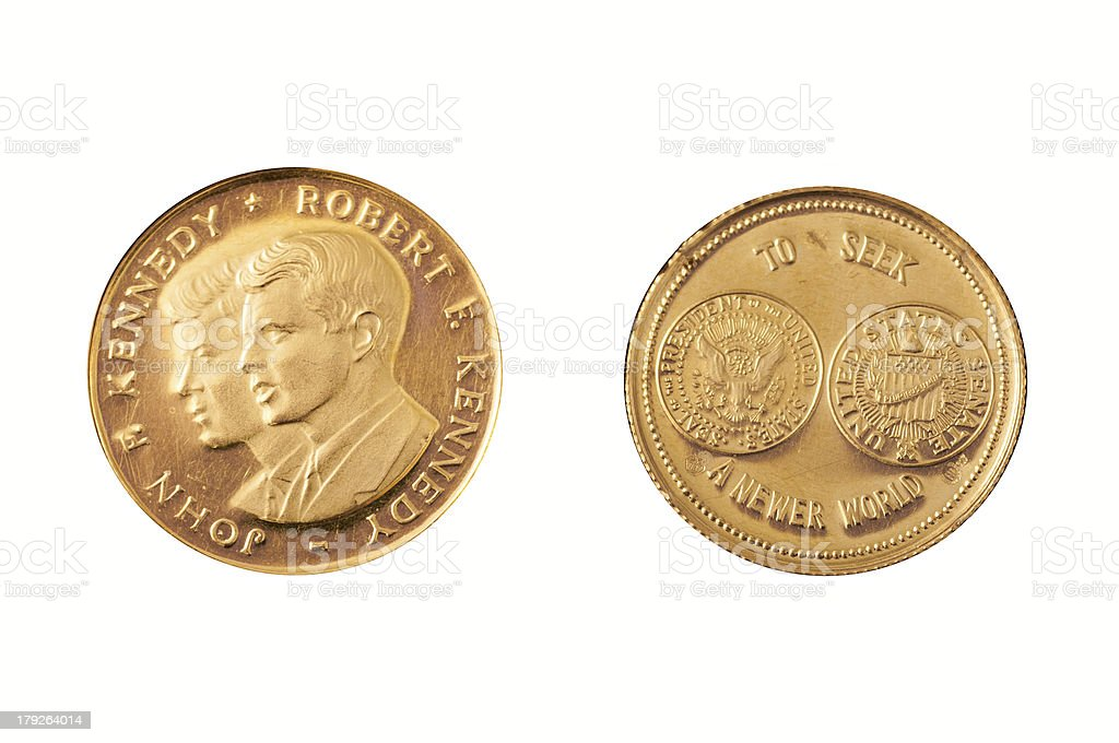 Gold coin kennedy brothers stock photo