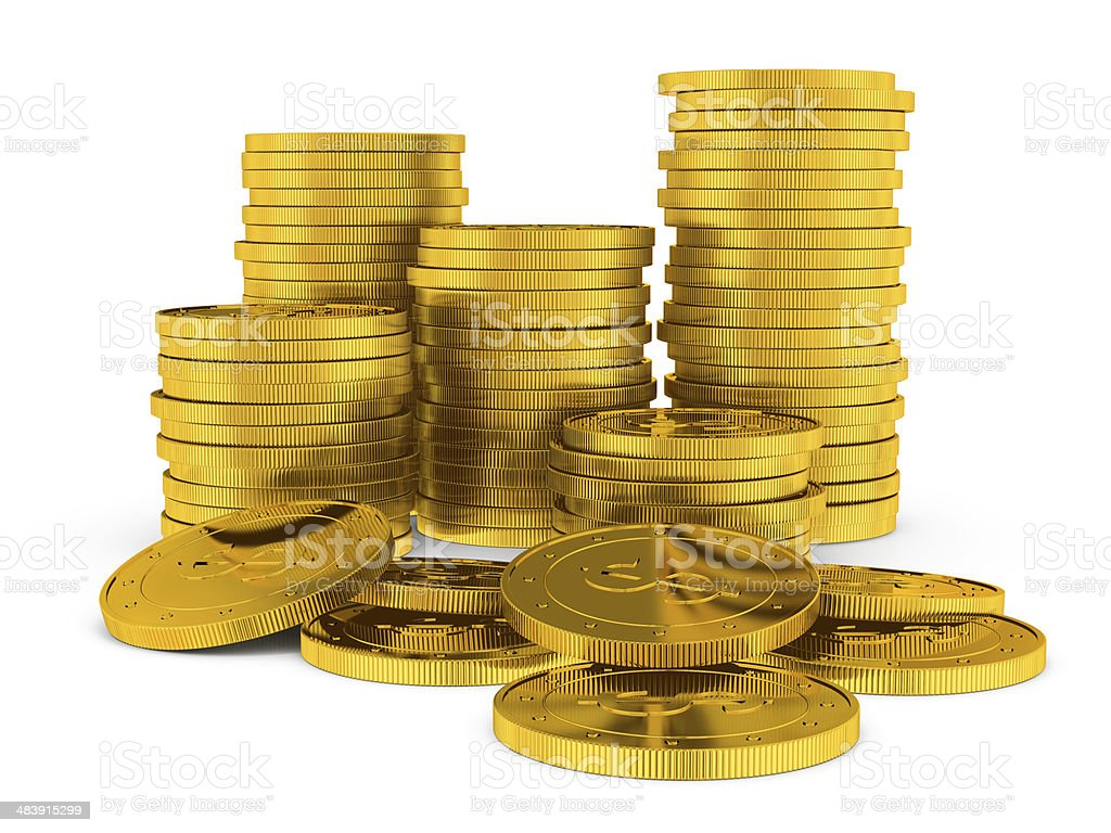 Gold coin.  Raster illustration isolated stock photo
