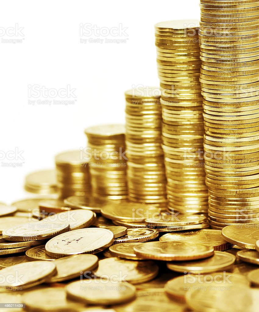 Gold coin stack isolated on white background stock photo
