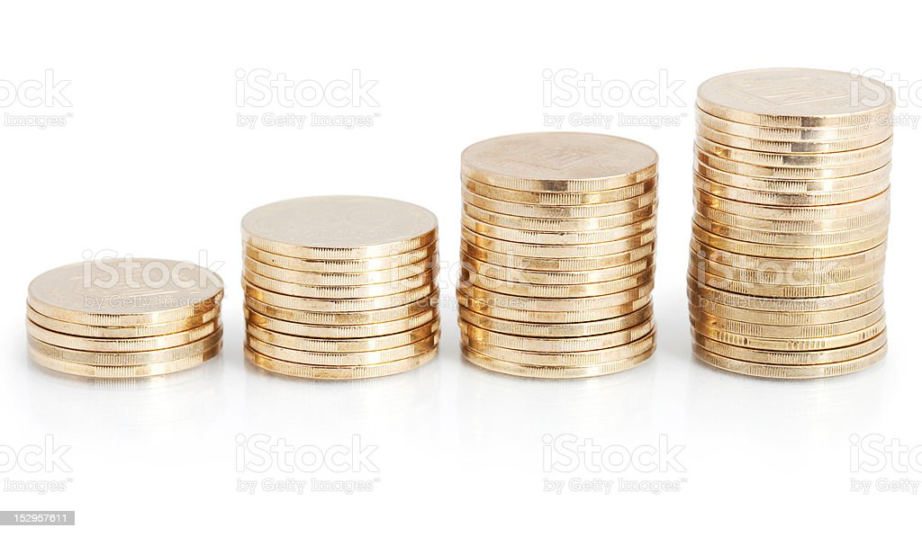 gold coin stack isolated on white royalty-free stock photo