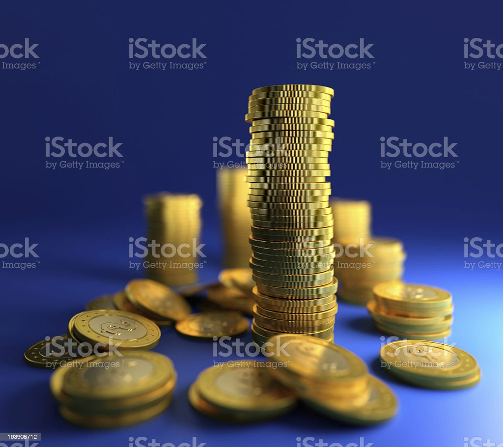 Gold coin stack stock photo