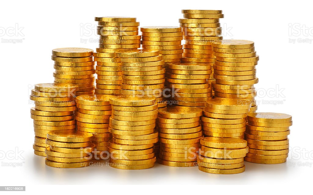 Gold Coin Stacks stock photo