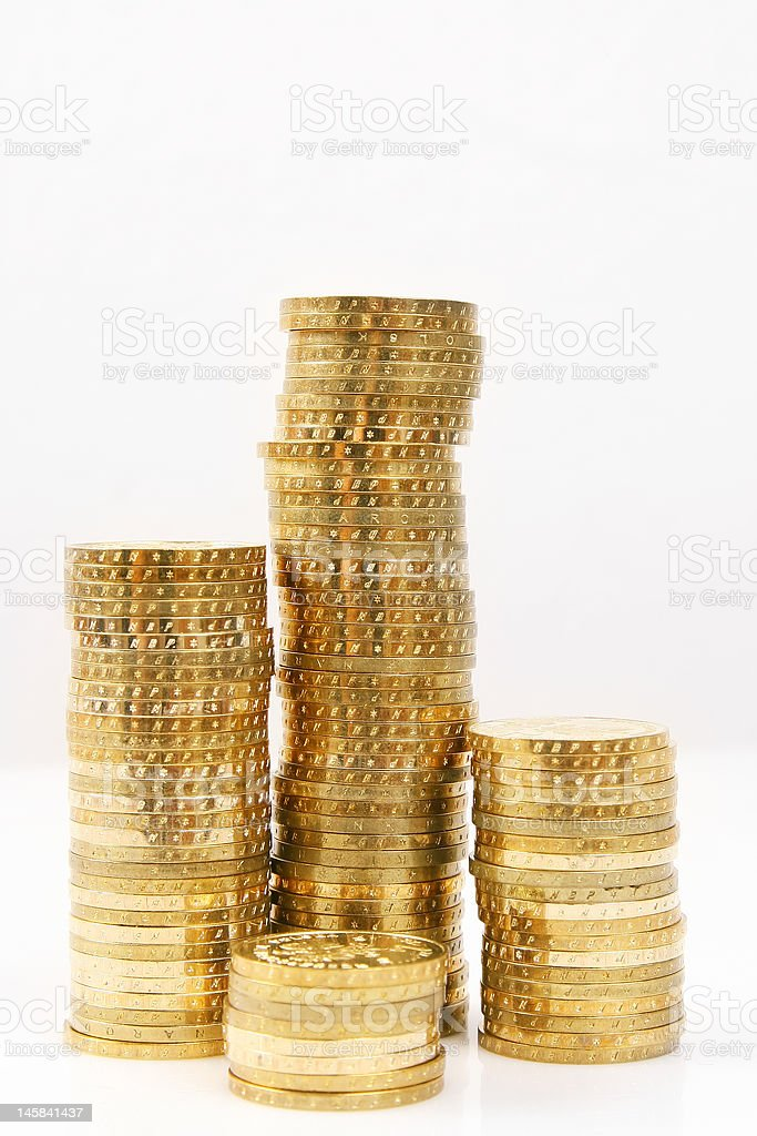 gold coin tower royalty-free stock photo