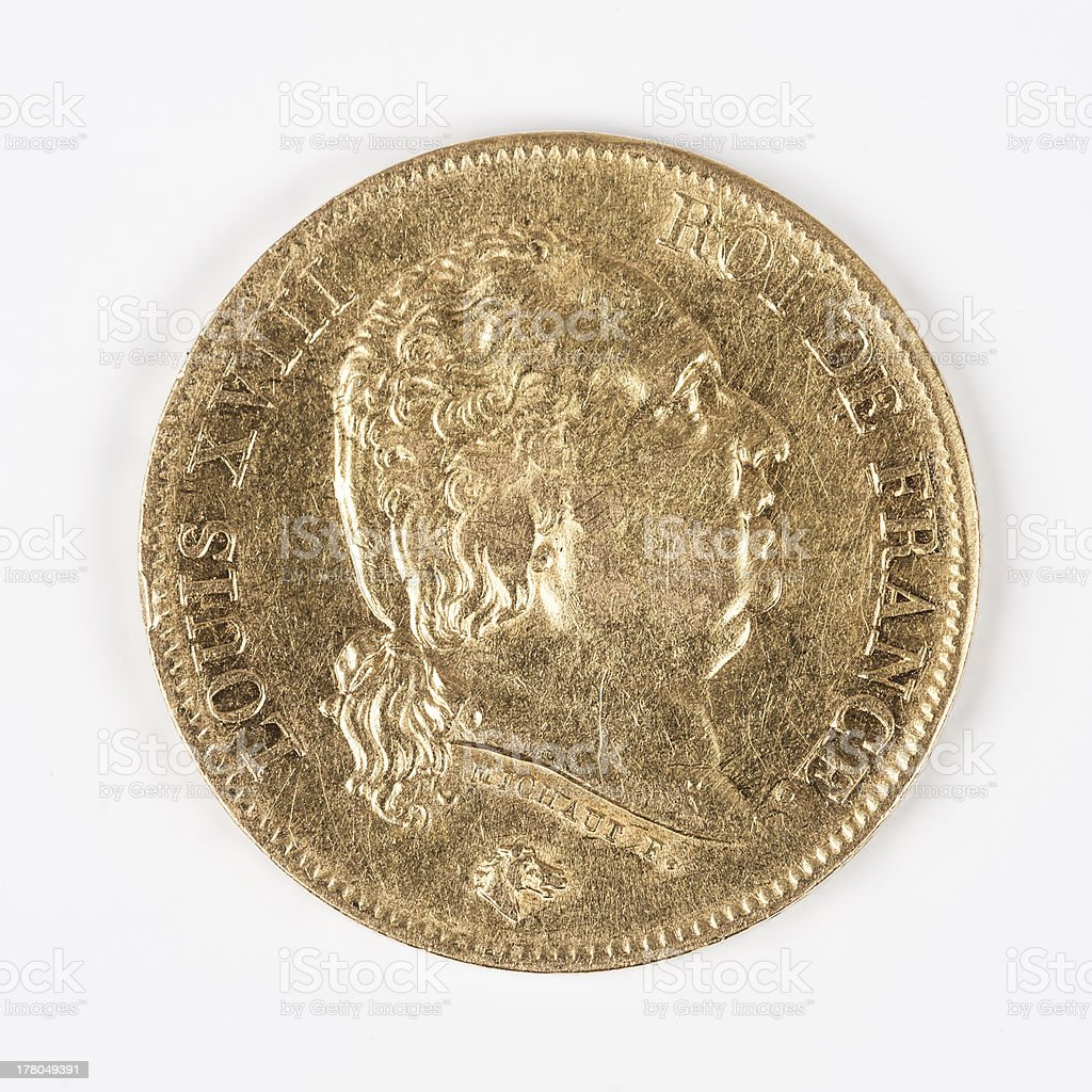 gold coin with Louis XVIII stock photo