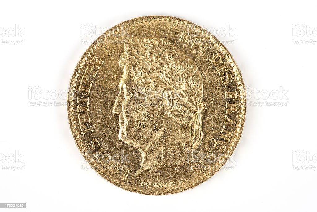 gold coin with Louis-Philippe royalty-free stock photo