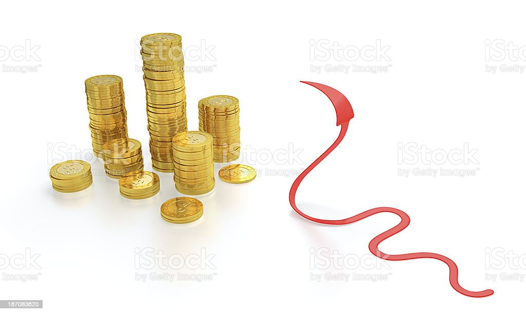 Gold coins and red arrow snake stock photo