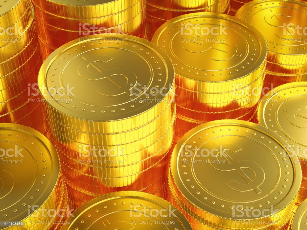 Gold Coins background stock photo