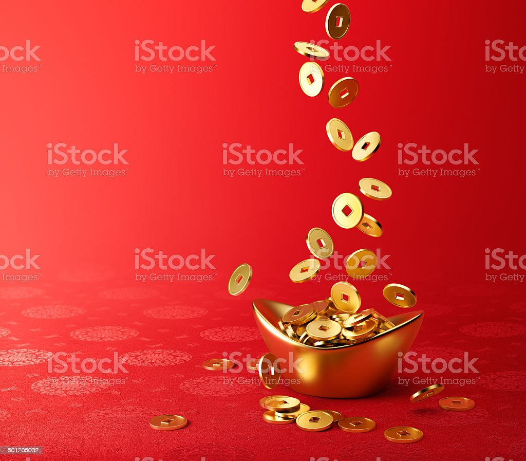 Gold Coins Dropping on Gold Sycee - Yuanbao stock photo