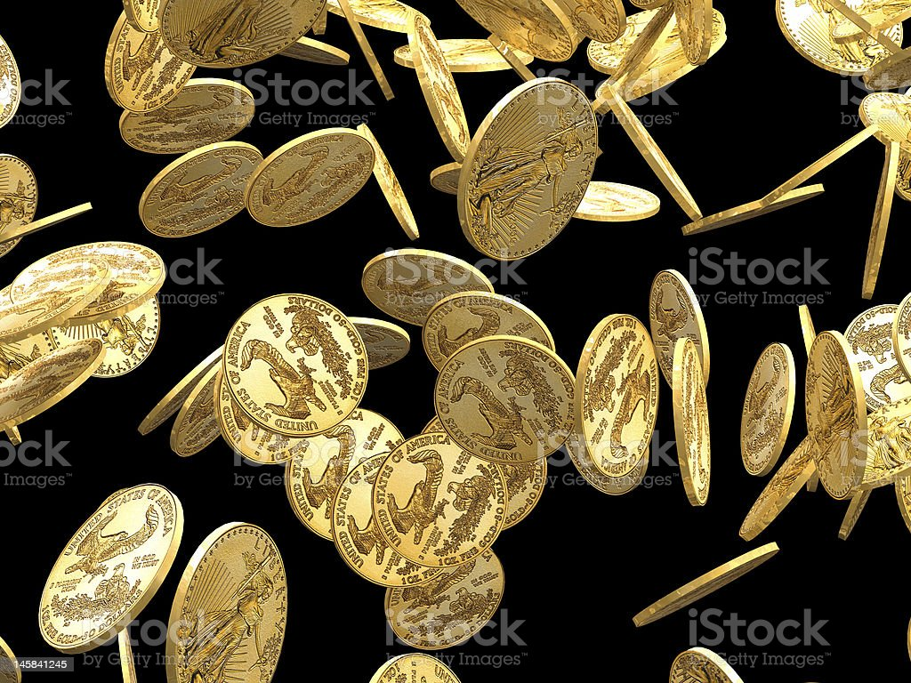 Gold coins falling royalty-free stock photo