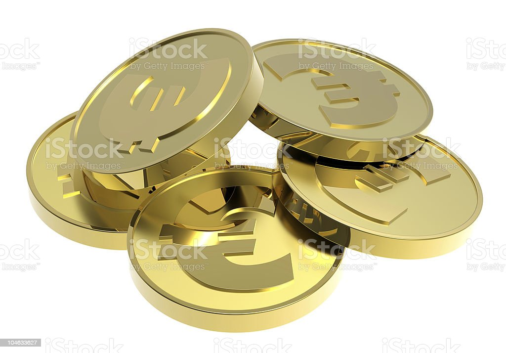 Gold coins isolated on a white background royalty-free stock vector art