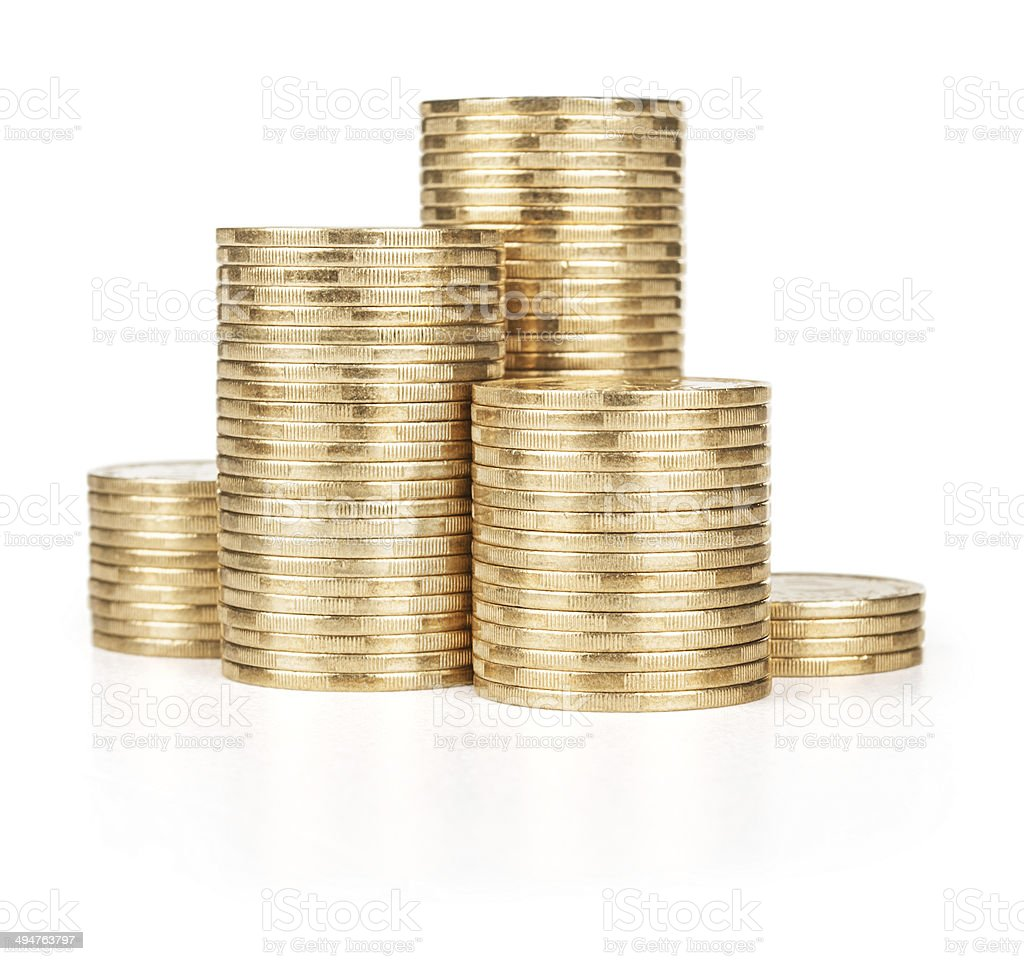 Gold coins, isolated on white stock photo