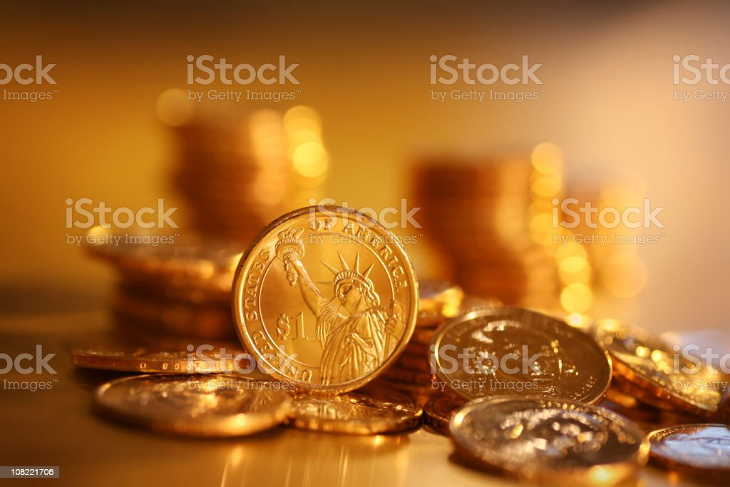 Gold Coins on Background royalty-free stock photo