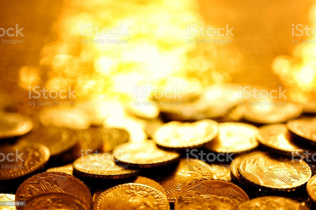 Gold coins stock photo