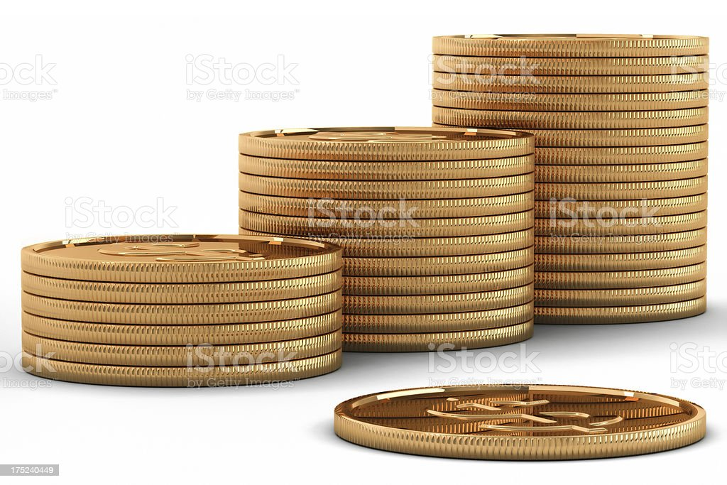 Gold coins sent, 3D royalty-free stock photo