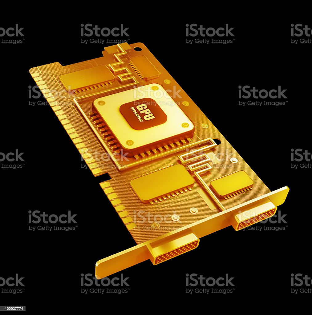 Gold collection. graphic card GPU High resolution 3d stock photo