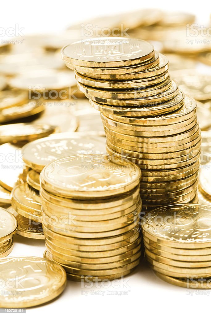 Gold color coins stock photo