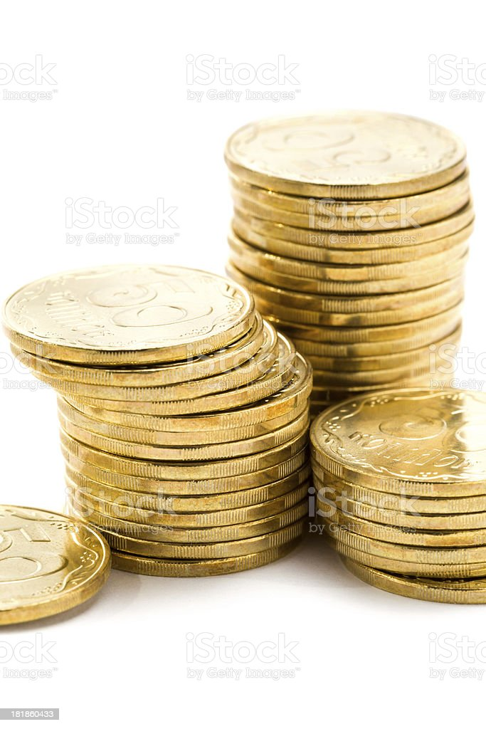 Gold color coins royalty-free stock photo