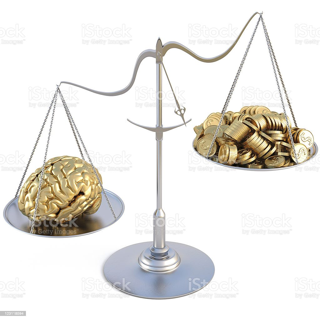 Gold colored brain and gold coins on opposite end of scale stock photo