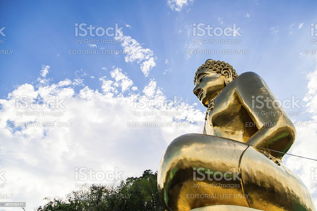 Gold colored buddha statue near the Golden Triangle stock photo