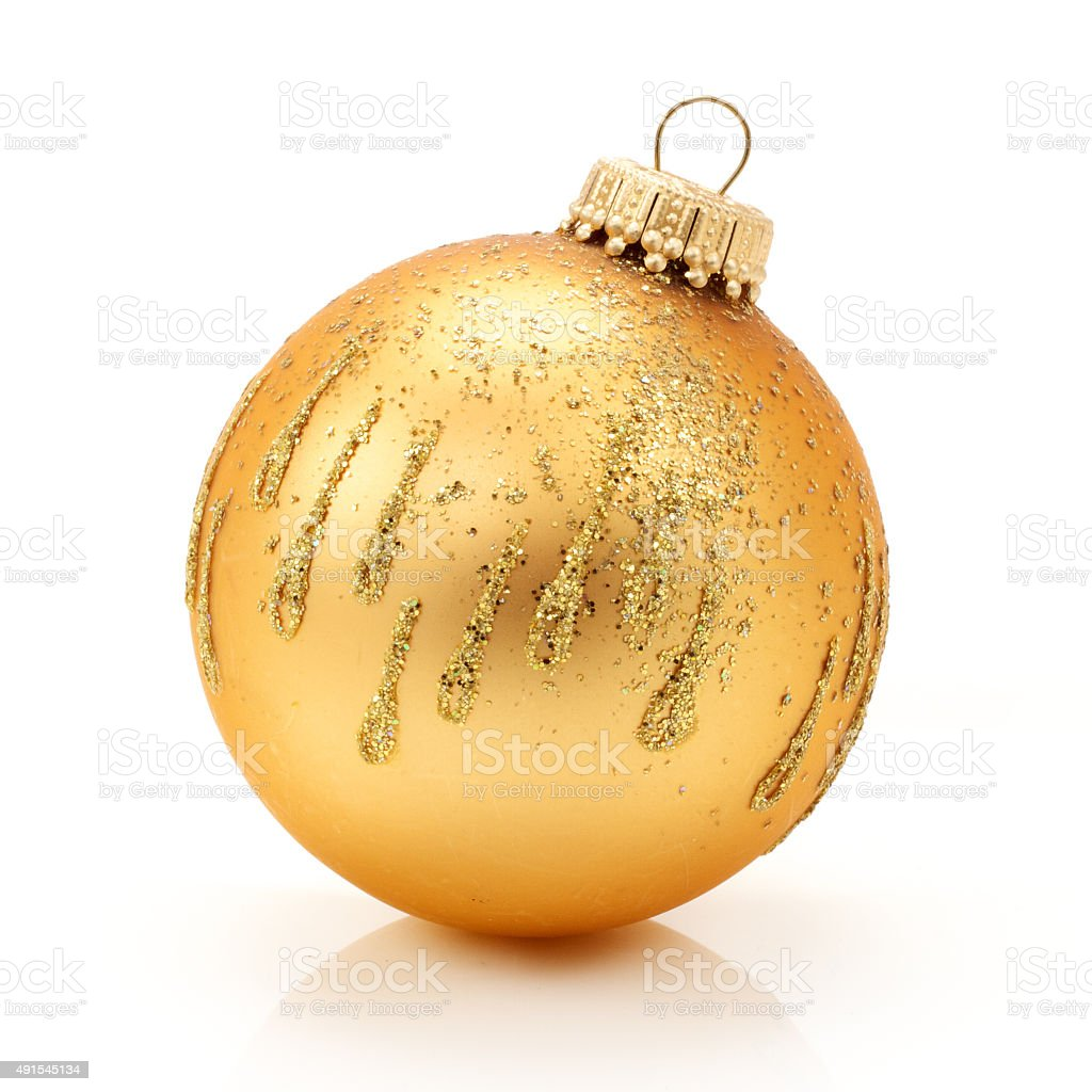Gold Colored Christmas Ball. Contains Clipping Path. stock photo