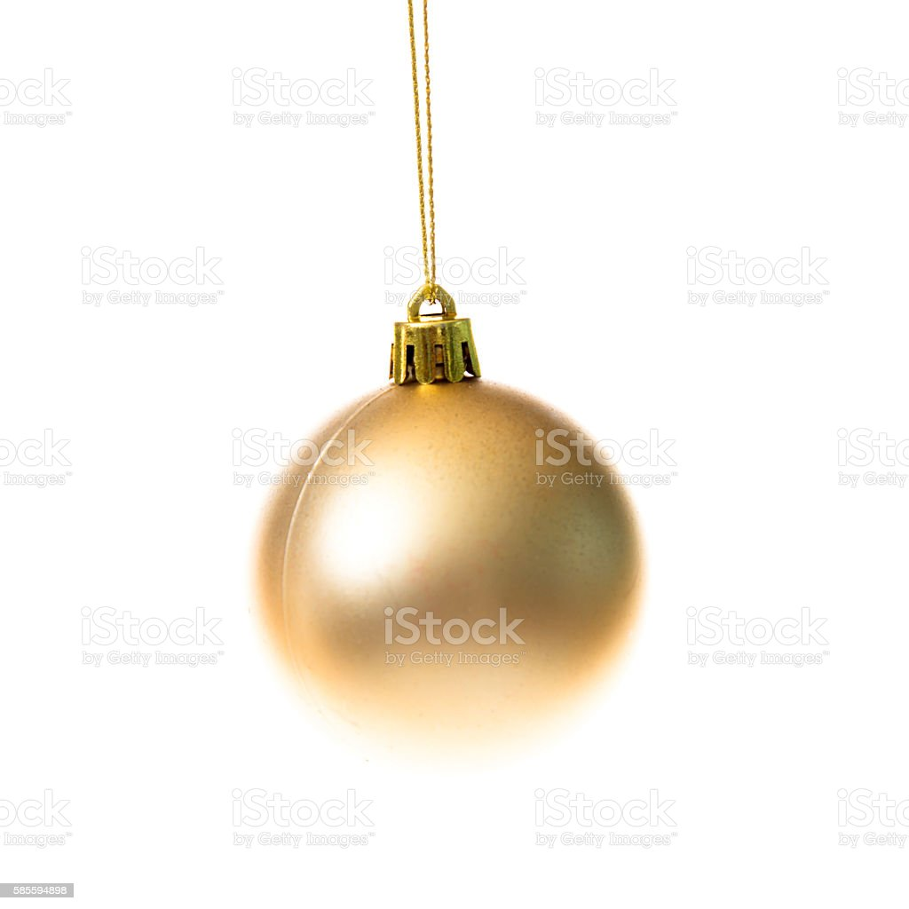 Gold colored christmas ball stock photo