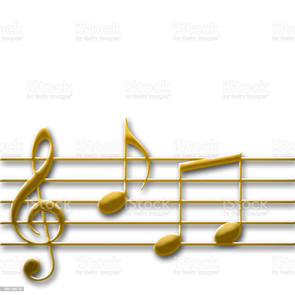 Gold colored music g-key with some random music notes, isolated against the white background vector art illustration