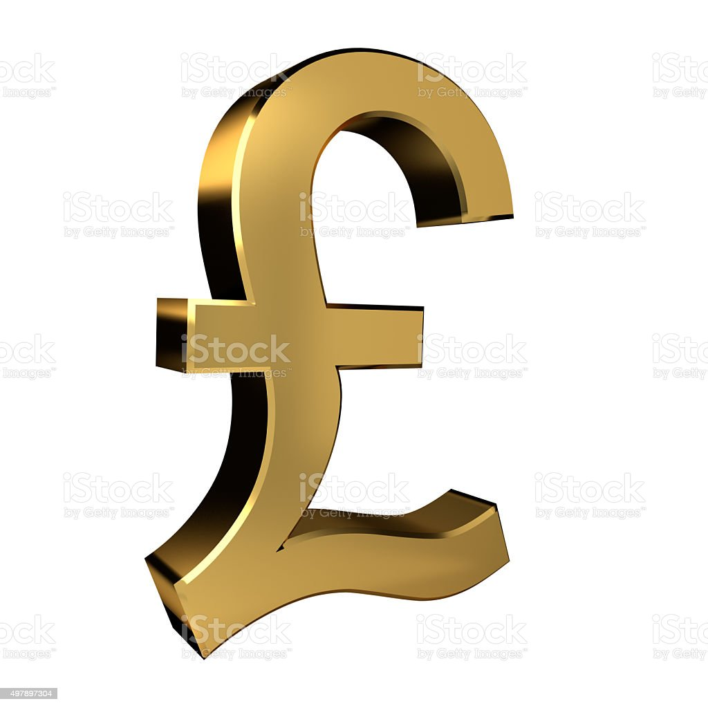 Gold Colored Pound Symbol stock photo