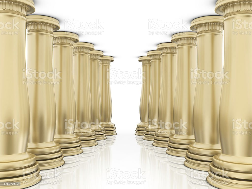 Gold Columns Classic royalty-free stock photo