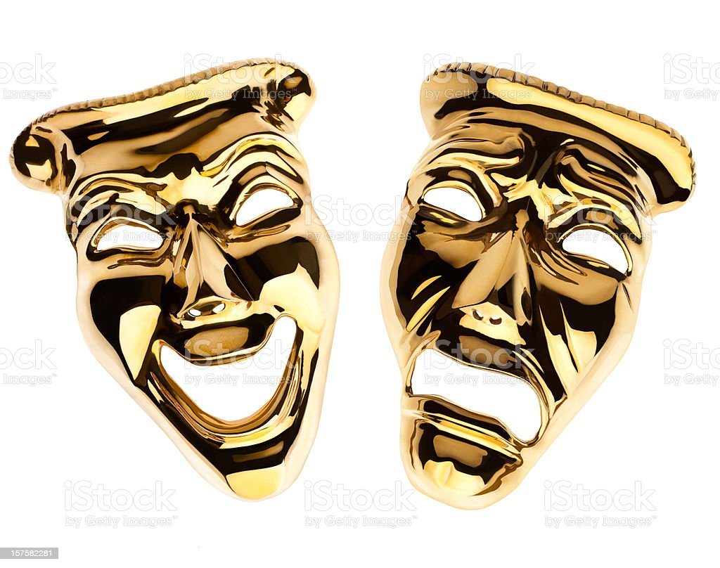 Gold Comedy and Tragedy Theatrical Drama Masks Isolated On White stock photo